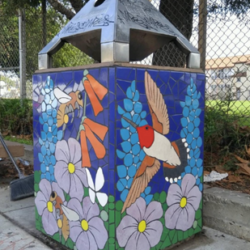 Hummingbird trash can mosaic