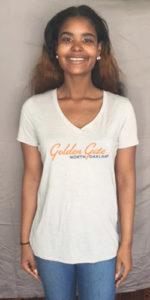 Style #3: Golden Gate North Oakland, Women's Cream, v-neck.  M-L-XL
